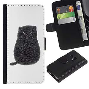 All Phone Most Case / Oferta Especial Cáscara Funda de cuero Monedero Cubierta de proteccion Caso / Wallet Case for Samsung Galaxy S3 MINI 8190 // Black Cartoon Cat Kitten White Minimalist