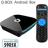 ESHOWEE Qbox Android 6.0 Smart TV BOX Amlogic S905X Mali-450 2GB/16GB Dual 2.4/5GHz WIFI