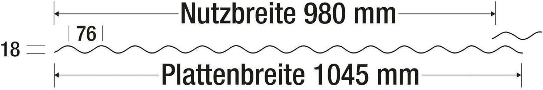 Breite 1045 mm Lichtwellplatte Wabenstruktur Wellplatte St/ärke 2,6 mm Profil 76//18 Lichtplatte Material Polycarbonat Farbe Opal Wei/ß