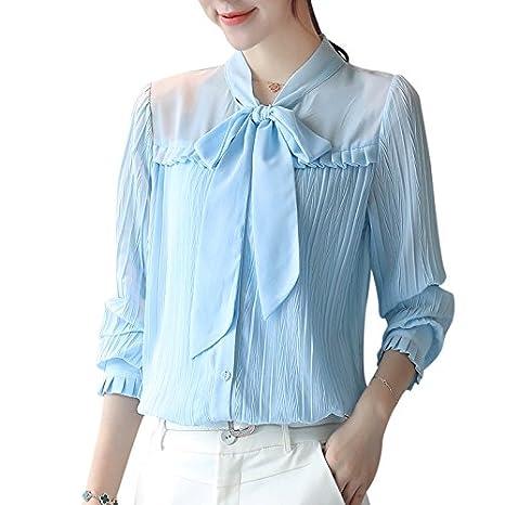 XXIN Camiseta De Manga Larga con Corbata Mujer Camiseta Camiseta ...