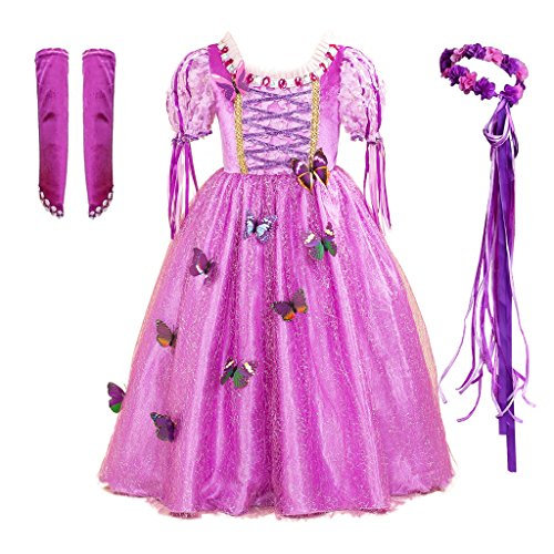 CMiko Long Hair Princess Rapunzel Generic Dress Costume with Accessories for Little Girls Birthday Party (Size 4) -