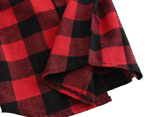 Grandwish Kids Long Sleeve Boy's Girl's Plaid Flannel Shirt Red Black 6 by Grandwish (Image #7)