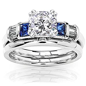 Cushion Moissanite Bridal Set with Sapphire and Diamond 1 1/2 CTW 14k White Gold