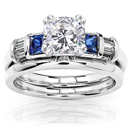 Cushion Moissanite Bridal Set with Sapphire and Diamond 1 1/2 CTW 14k White Gold, Size 6