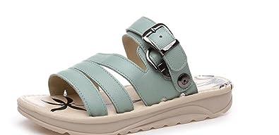 SHFANG shoes Weibliche Sandalen Sommer Leder Dicke Untere Hausschuhe Studenten Tourismus Zwei Tragen Einkaufen...