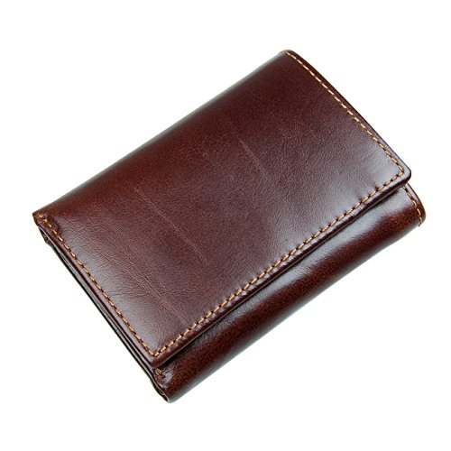 Itslife Men's RFID Blocking Leather Trifold Wallet with Back Pocket (Chocolate 05)