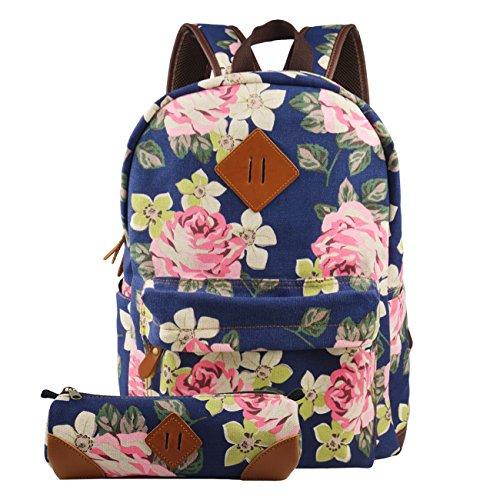 Print Canvas Laptop Computer (L.S.Risunup Backpack for Teenage Girls Cute Print Canvas School Laptop Bags Pencil Case 2PCS Set Blue Floral)