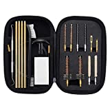 Raiseek 22 Caliber AR15 M16 Rifle Gun Cleaning Kit with Bore Chamber Brushes Cleaning Pick Kit, Brass Cleaning Rod Nylon Brushes in Zippered Organizer Compact Case