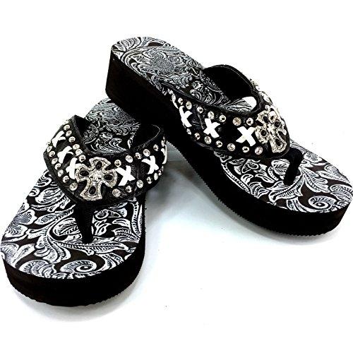 Pattern Rhinestone Diamond (Western Peak Women's White Lace Full Rhinestones Cross Concho Diamond Black White Flip Flops Sandals (8))