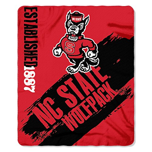 Officially Licensed NCAA North Carolina State Wolfpack Painted Printed Fleece Throw Blanket, 50