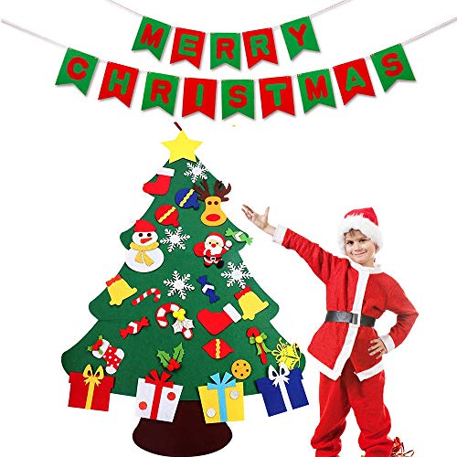 COURAGE 3.3Ft DIY Christmas Felt Tree Set Hanging Wall Christmas Decorations 29pcs Detachable Ornaments with Merry Christmas Felt Banner Xmas Gifts for Child Christmas Wall Door Decorations ()