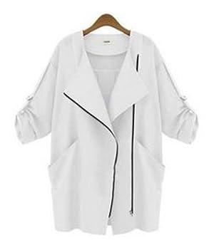 Sarriben Women's Long Sleeve Trench Coat Zipper Jacket Blazer Overcoats