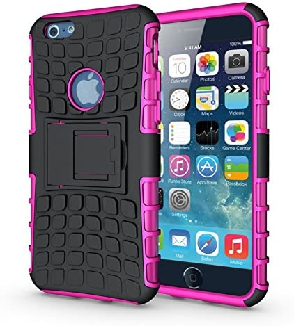 HLCT Rugged Non-Slip Dual-Layer Shock Proof Cover with Built in Kickstand for iPhone 6S//6 iPhone 6s//6 Stand Case Green
