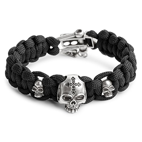 Kayder Antique Silver Skull Cross Charm Paracord Bracelet with Black Parachute Cord Weave & Adjustable D Shackle Closure, Cool Gothic Jewelry Gift for Men and Boys Crystal Weave Bracelet
