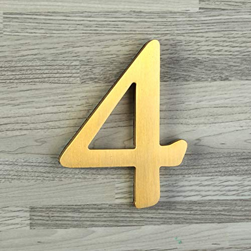 - Mellewell 2-1/2 Self-Adhesive Solid Brass Floating House Numbers Door Sign, Number 4 Four