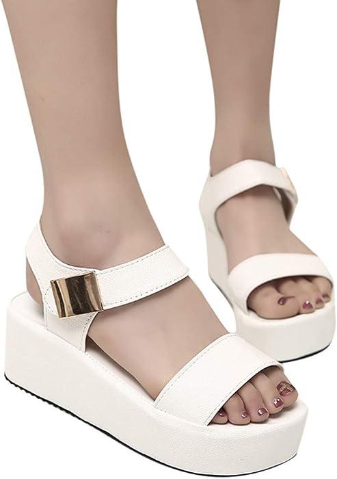 JiaMeng Moda Peep Toe Zapatos de Plataforma de cuña Casual Sandalias de Mujer Sandalias Mujer Cuña Alpargatas Plataforma de Primavera Casual Zapatos de ...