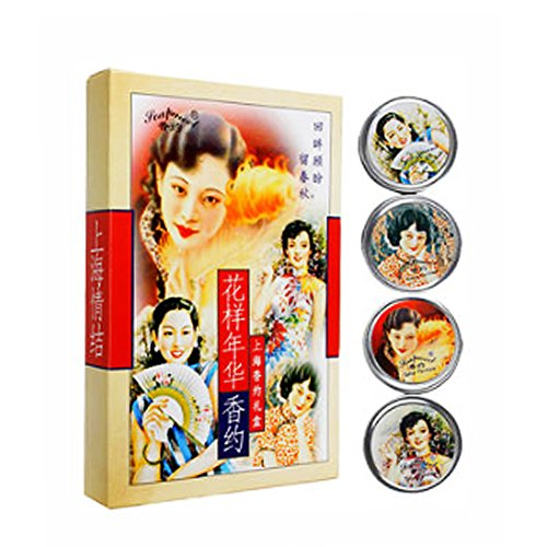 - Solid Perfume Fragrance Cream SHANGHAI Delicate Fragrant Balsam Beeswax Skin Care Gift Set 4 Pcs/Set