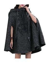 Chouyatou Women's Chinese Stylish Embroidery Pattern Cape-Like Hooded Poncho Coat