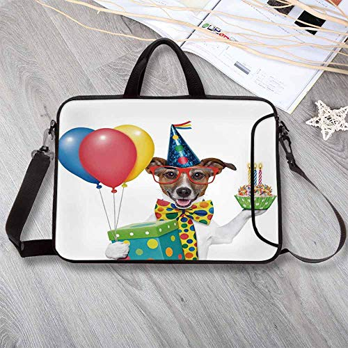 Birthday Decorations for Kids Waterproof Neoprene Laptop Bag,Waiter Server Party Dog with Hat Cone Cupcake Balloons Boxes Laptop Bag for Business Casual or School,12.6