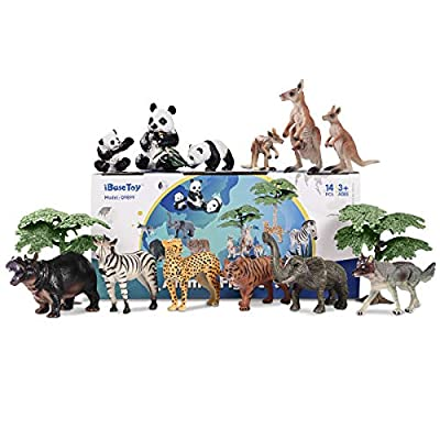 iBaseToy Zoo Animals Toy Jungle Animals, Toddlers Wild Animal Figures Set, Free Standing Realistic Animal Toys for Kids, Perfect for Birthday Party Favors, Classroom Rewards and Easter Gift: Toys & Games