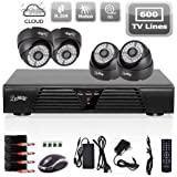Liview 4CH Full D1 DVR Motion Detection CCTV Home Security Kit 600TVL Night Vision Dome Camera