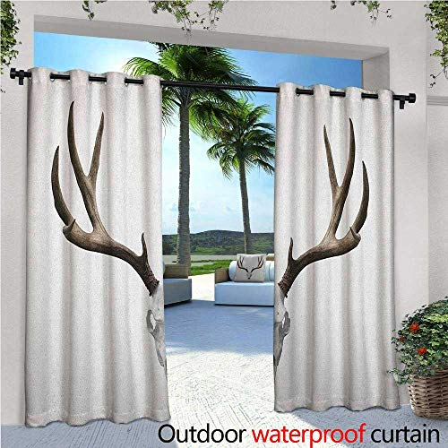 familytaste Antlers Outdoor Blackout Curtains A Deer Skull Skeleton Head Bone Halloween Weathered Hunter Collection Outdoor Privacy Porch Curtains W108 x L96 Warm Taupe Pale Grey ()