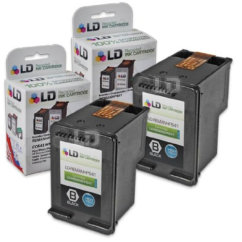 LD © Remanufactured Replacement Ink Cartridges for Hewlett Packard CC641WN (HP 60XL) High-Yield Black (2 pack)