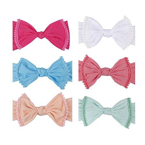 Baby Girls Elastic Nylon Headband - Subesty Classic Knot Stripe Hair Band For Newborn Infant Toddler Set Of 6