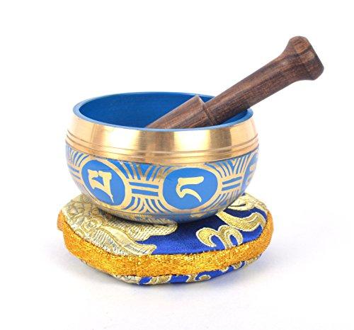 Tibetan Meditation Singing Bowl with Craved Endless Knot & Om Mani Padme (MH-SING-1991BLE)