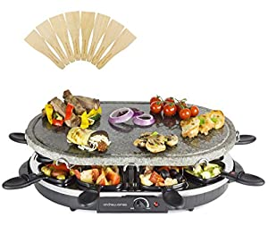 andrew james rustic stone raclette grill for 8 electric 1200w thermostatic heat control. Black Bedroom Furniture Sets. Home Design Ideas