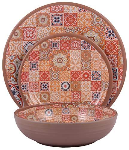 Melange 36-Piece Melamine Dinnerware Set (Moroccan Tiles)   Shatter-Proof and Chip-Resistant Melamine Plates and Bowls   Red   Dinner Plate, Salad Plate & Soup Bowl (12 Each)