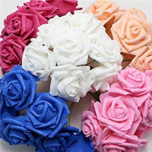 XGM GOU Beige Wedding Bride Artificial Craft Bouquet Blue Foam Rose Marry DIY Crimping White Decoration Champagne Flower with Stem 100Pc 110