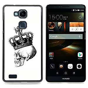 - Skull Death King Crown White Black - - Snap-On Rugged Hard Cover Case Funny HouseFOR HUAWEI Ascend Mate 7