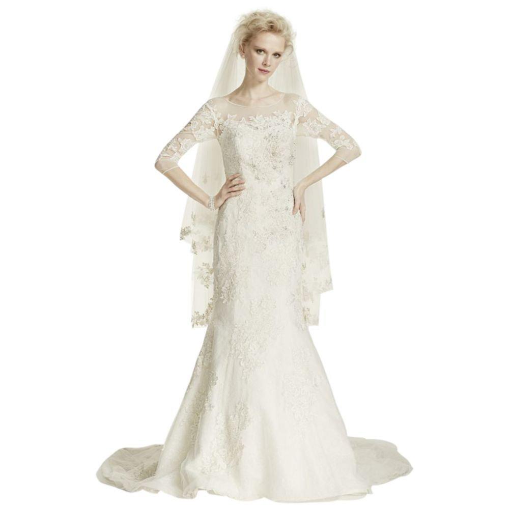 Oleg Cassini Illusion 34 Sleeve Wedding Dress Style Cwg638 At