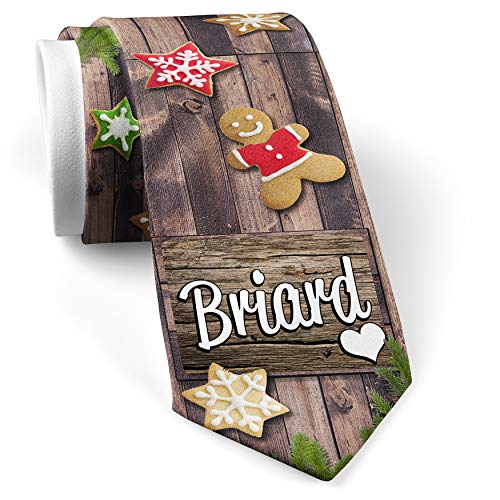 - His Christmas NeckTie Briard, Dog Breed France cookie wood print
