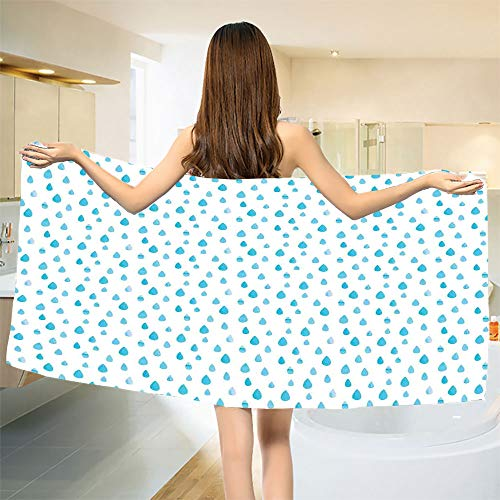 """smallbeefly Blue and White Bath Towel Watercolor Drip Drops Pattern in Various Sizes Terrain Humidity Zone Sign Customized Bath Towels Blue White Size: W 19.5"""" x L 39.23"""""""