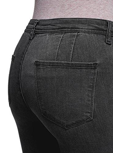Skinny 2900w con Donna Ultra sulle Tagli Nero Ginocchia Jeans oodji OxtvPwqB
