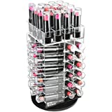 Ikee Design Premium Acrylic Rotating Cosmetic 64 Lipsticks Tower Organizer with Removable Dividers