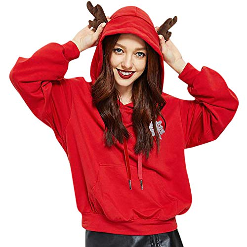 Christmas Sweatshirt Hooded Red Blouse Party Winter Tops Women Casual Fashion Shirts