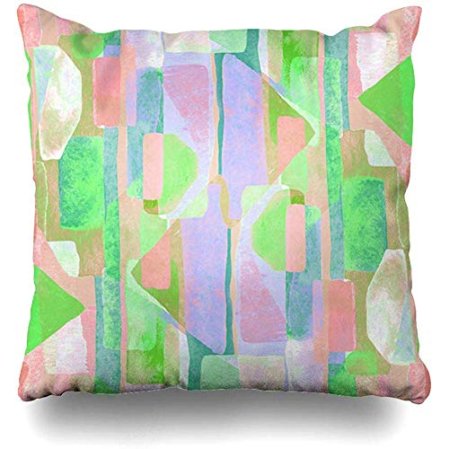 Throw Pillow Cover Cushion Case Kaleidoscope Artist Bauhaus Pattern Multicolored Geometric Watercolor Cubism Abstract Teal Block Brush Color Design Home Decor Square 18x18 Inches