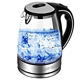 Electric Kettle-Water Kettle Tea Kettle, 1.7L(3.8 pint) 1500W, Glass Electric Kettle Fast Heating