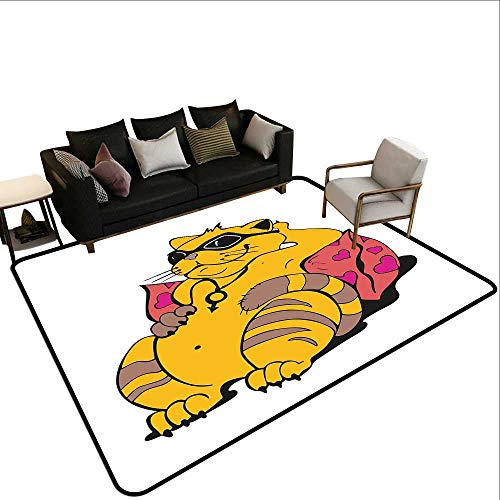 Household Decorative Floor mat,Fat Tomcat with Glasses Lying on A Cushion Relaxing Lazy Kitty Pets Pillow Cartoon 6'6