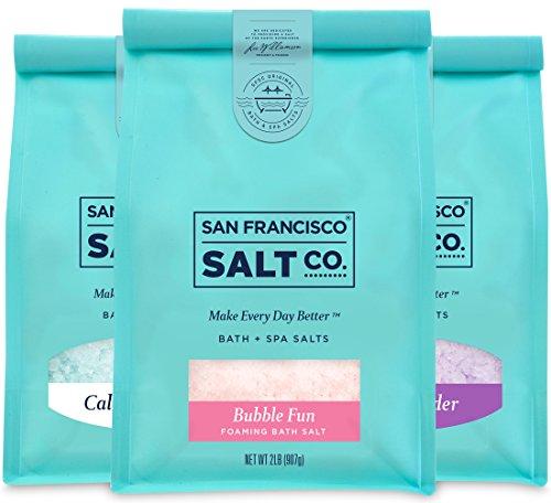 Best Sellers Luxury Bag Bundle - Sleep Lavender, California Breeze, Bubble Fun Foaming Bath Salts (2lb bag of ea) by San Francisco Salt ()