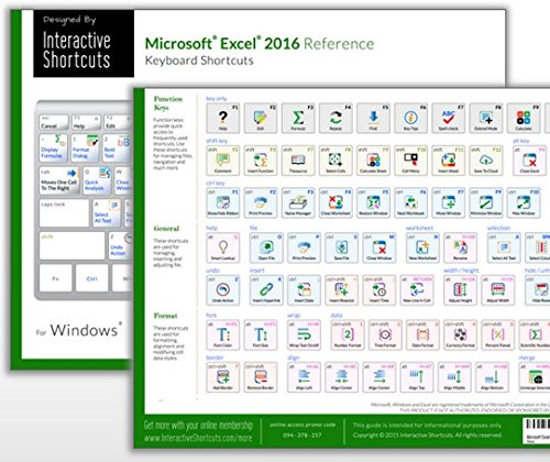 Microsoft Excel 2016 Reference Guide - (Cheat Sheet of Keyboard Shortcuts - Laminated Card)