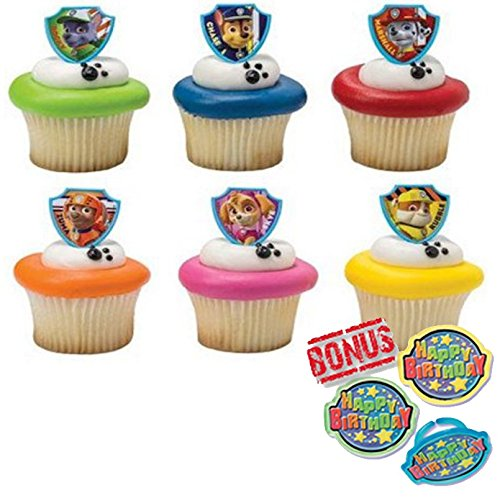 - Bundle of Fun Paw Patrol Ruff Ruff Rescue Rings Cupcake Toppers and Bonus Birthday Ring - 25 Piece