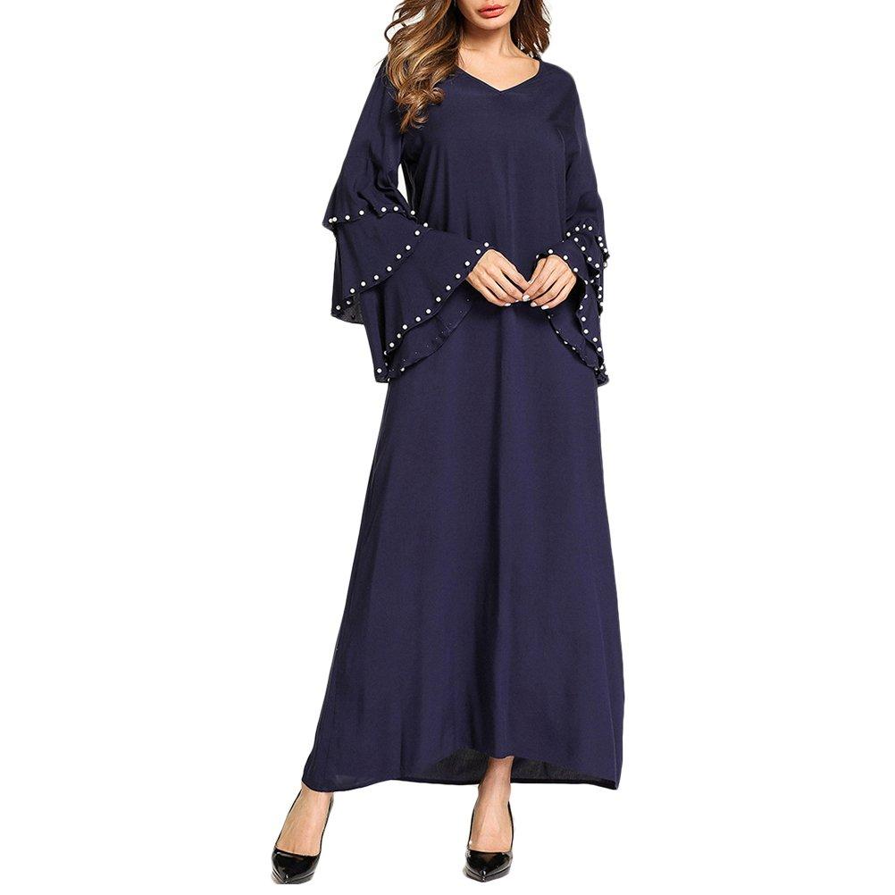 798edfa6e9a05 Zhuhaitf Rétro Bleu V-Neck Dress Musulmans Style A-Line Longue Maxi Soirée  Abaya