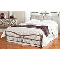 Lotus Snap Bed with Detachable Headboard Pillows and Folding Metal Side Rails, Brushed Pewter Finish, California King