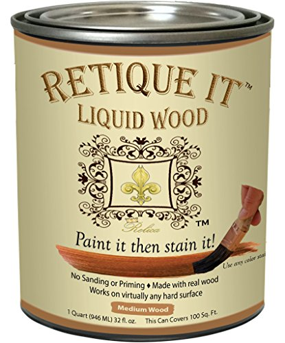 Retique It Liquid Wood - Gallon - Paint it then stain it - Stainable Wood Fiber Paint - Put a fresh coat of wood on it (128oz - Medium Wood) by Relica