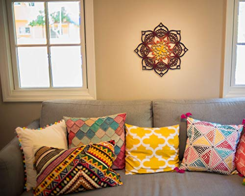 (Mandala Home Decor, Wood Wall Art, Geometric Indian Art, Bohemian Ethnic Wall Hanging, Sacred Geometry Ornament, Namaste Children Room Handmade Housewarming Gift )