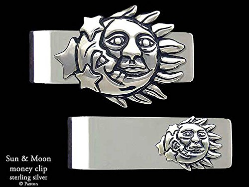 Sun Moon Money Clip in Solid Sterling Silver Hand Carved, Cast & Fabricated by Paxton by Paxton Jewelry